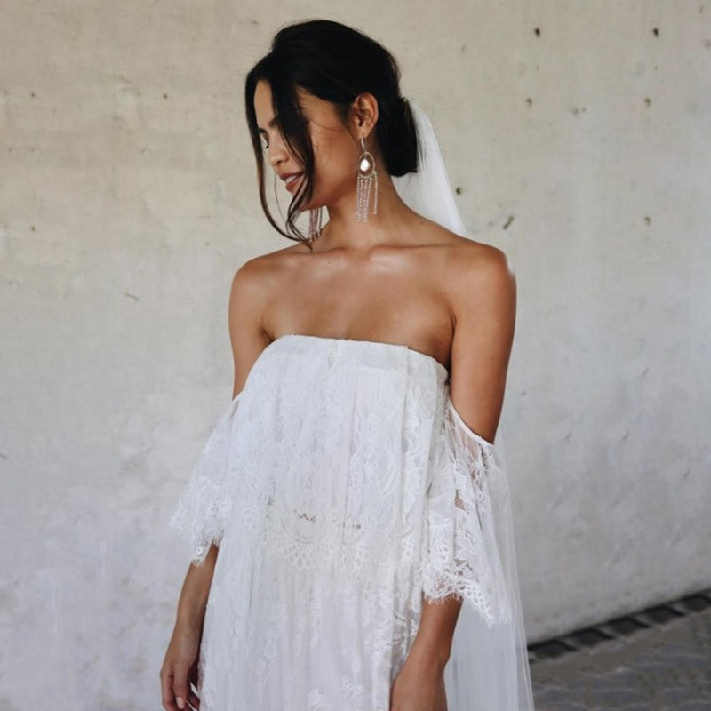 Maternity Photography Prop Dresses Shoulderless Lace Long Floor-length Dress Bohemian Summer Beach White Party Sexy Dresses enlarge