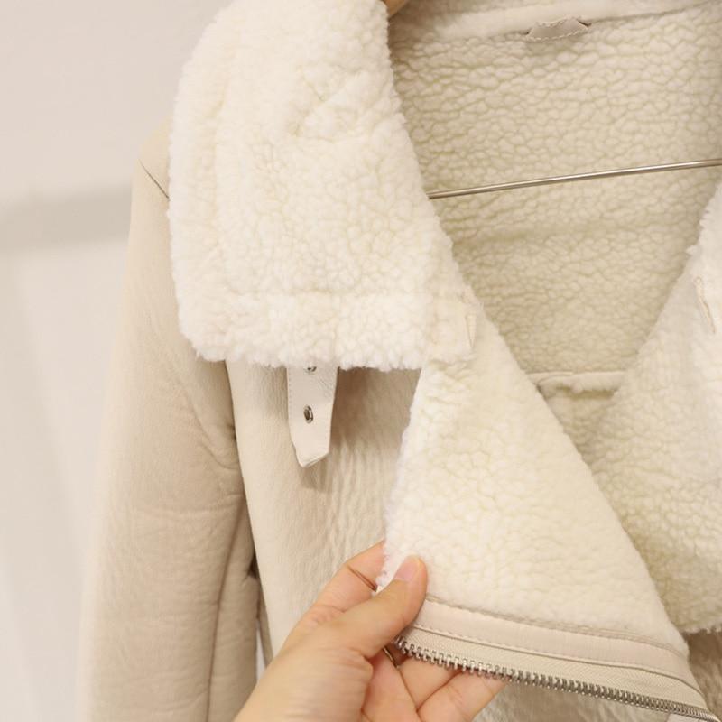 FTLZZ New Winter Women Female Fur Leather JacketFaux Lamb Leather Jacket Aviator Jacket Thick Faux Leather Fur Sheepskin Coat