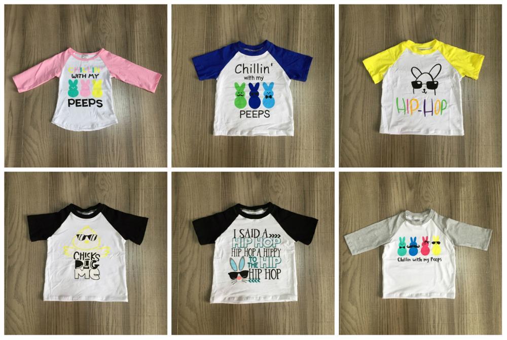 Primavera páscoa do bebê do menino azul coelho ovos peeps hip hop algodão boutique raglan topt-camisa de manga curta crianças roupas