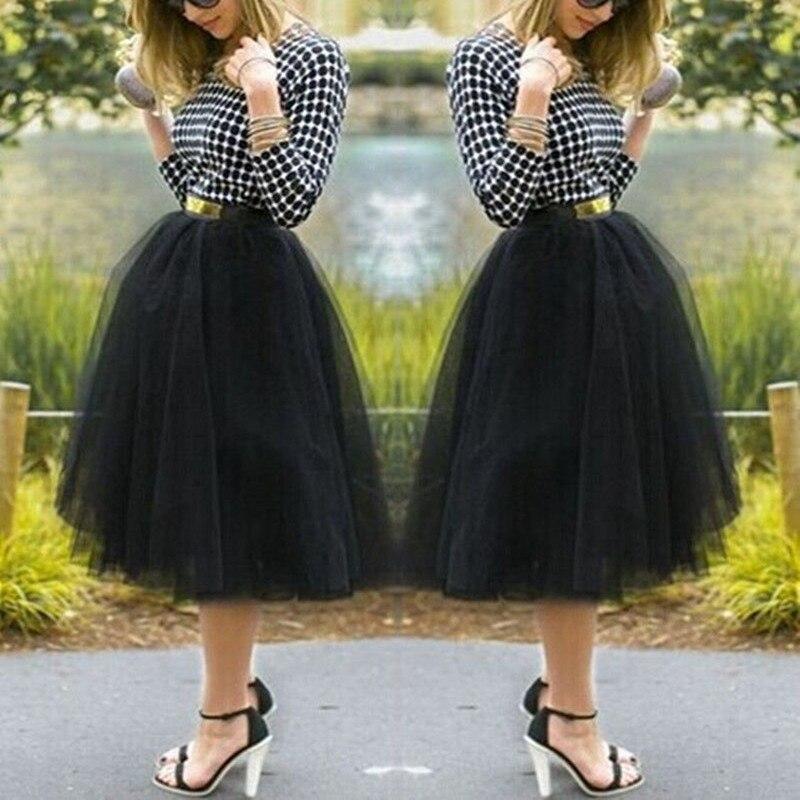 Moda mujer hasta la rodilla disfraz para fanáticos bajo enagua de rockabilly Tutu faldas de tul vestido de bola Mini falda