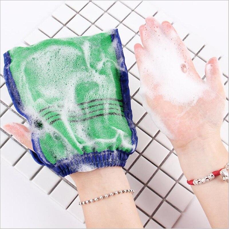 Luva esfoliante de dois lados, spa, banho, limpeza corporal, esponja de massagem, para banho, luva, morta, 1 peça descamação removedora da pele