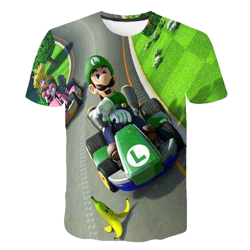 Cartoon Mario-Bros Luigi Tshirts Baby Boys T Shirt Kids Clothes Boy T-shirt Children Clothing Short Sleeve Girls Tops Tee Kids