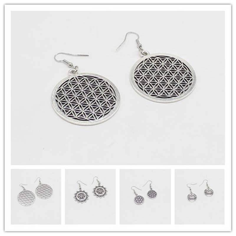 1 piece of life flower earrings Buddhist jewelry seed life flower sacred geometry jewelry lady charm gift jewelry earrings