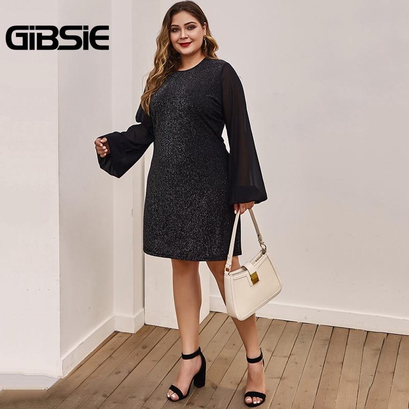 GIBSIE Black Elegant Chiffon Sleeve A-Line Dress Women Spring Summer Office Lady Mini Dresses Plus Size Long Sleeve O-Neck Dress