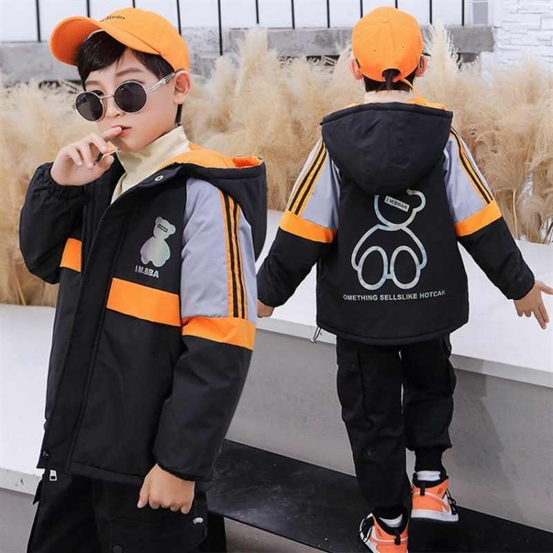 Boys' fleece-lined autumn clothing coat western style children and teens' wear autumn and winter clothes handsome shell jacket enlarge