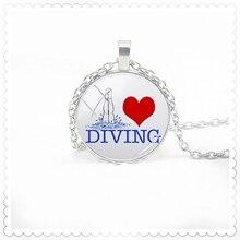 2020 Fashion Art Diver picture necklace 25mm convex dome pendant fashion charm men and women necklace
