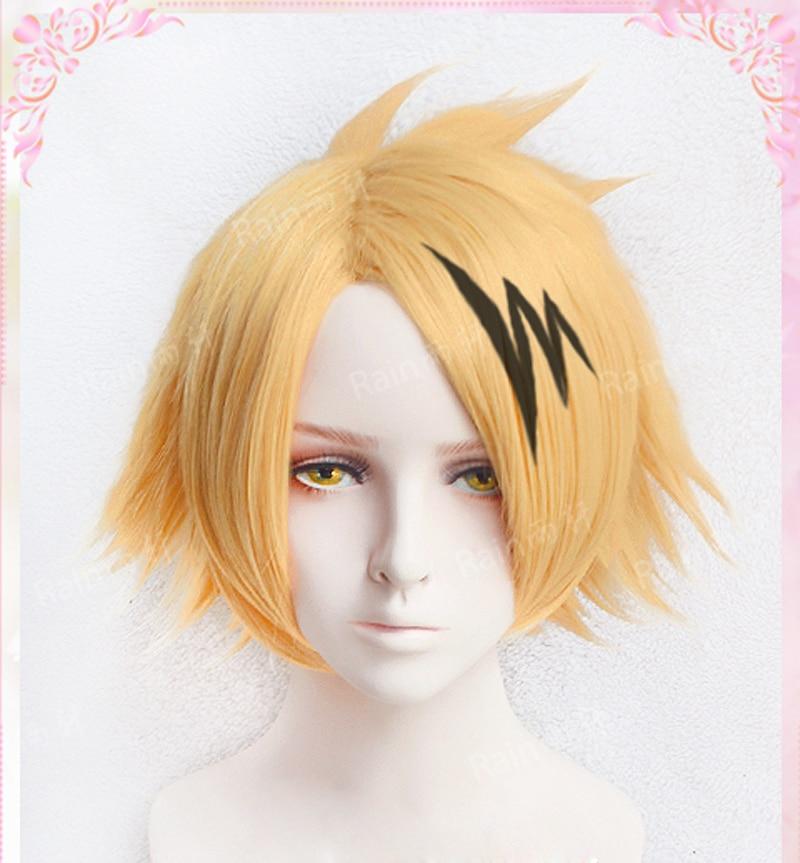 Top Quality Kaminari Denki Wigs Lightning Hairpin My Hero Academy Heat Resistant Synthetic Hair Cosplay Costume Wig + Wig Cap