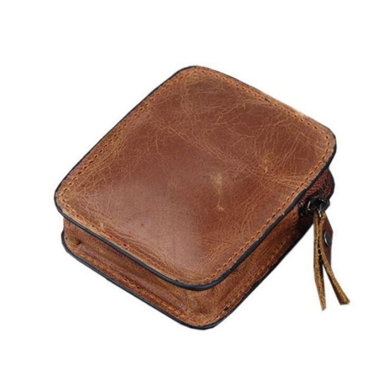 Leather Car Key Bag Men Coins Wallet Short Women Coin Purse Card Holder Mini Key Cover Earplug Stora