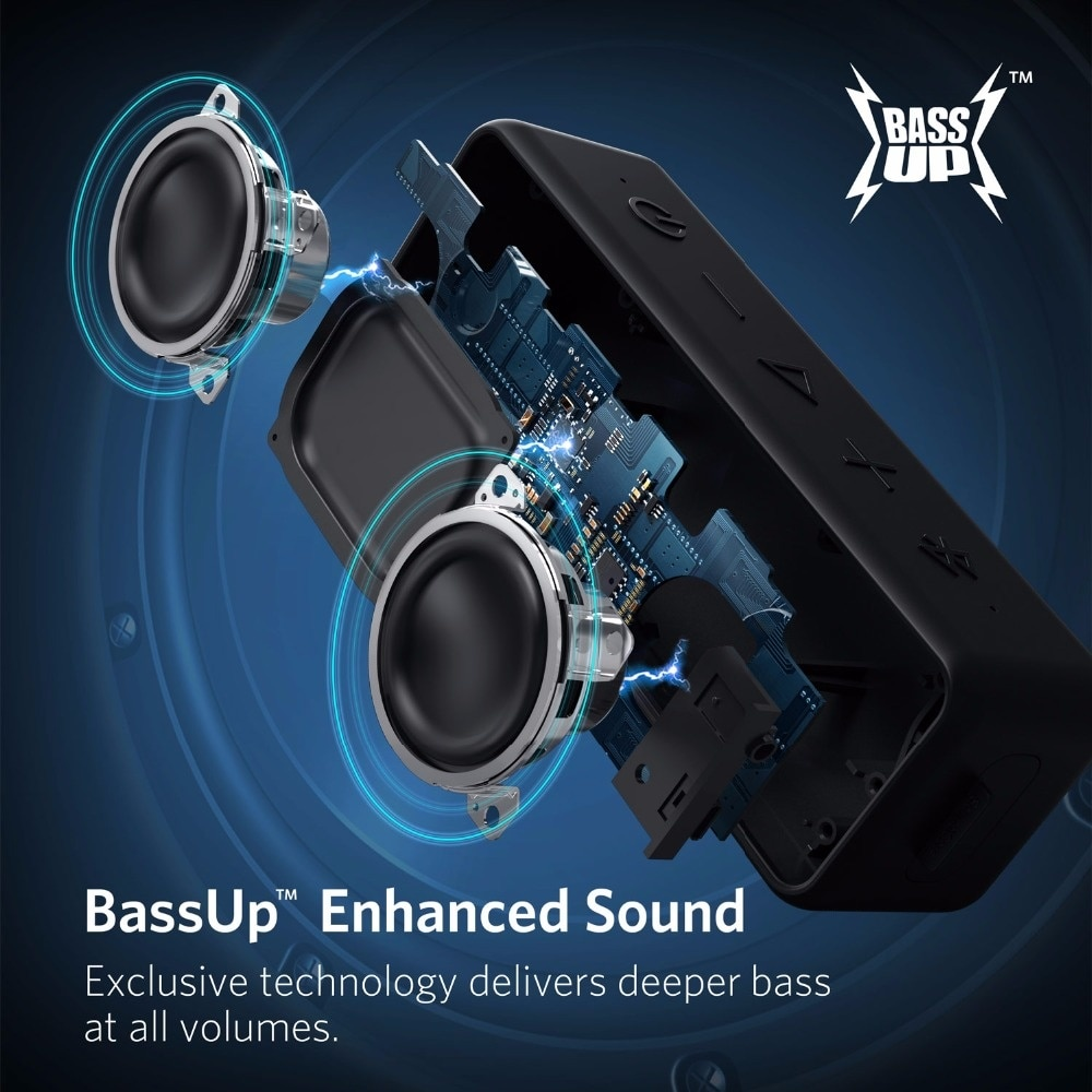 Anker Soundcore 2 Portable Bluetooth Wireless Speaker Better Bass 24-Hour Playtime 66ft Bluetooth Range IPX7 Water Resistance enlarge