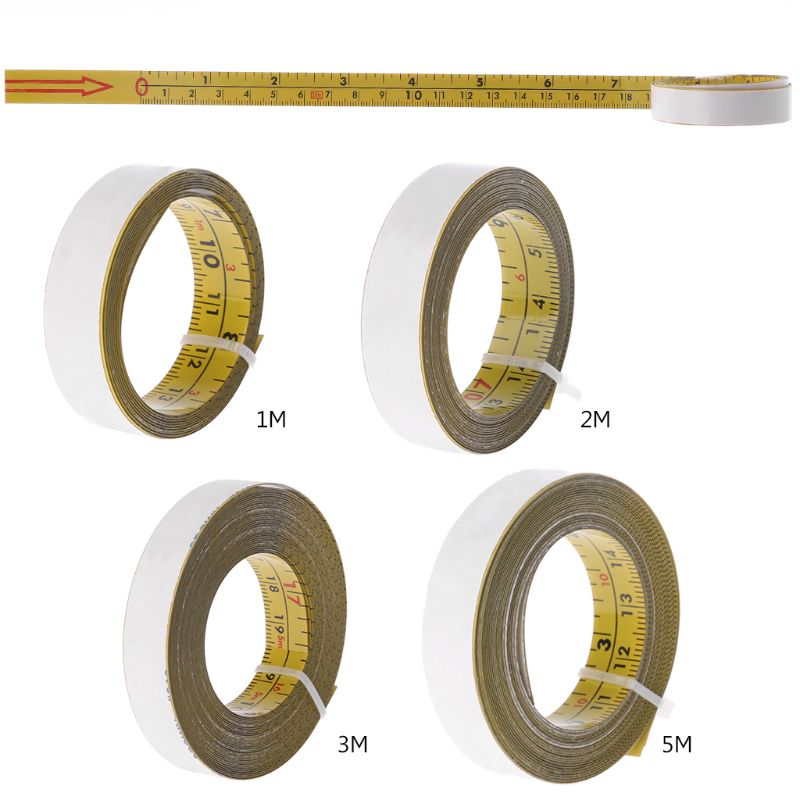 Inch & Metric Self Adhesive Tape Measure Steel Miter Saw Scale Miter Track Ruler 19QB