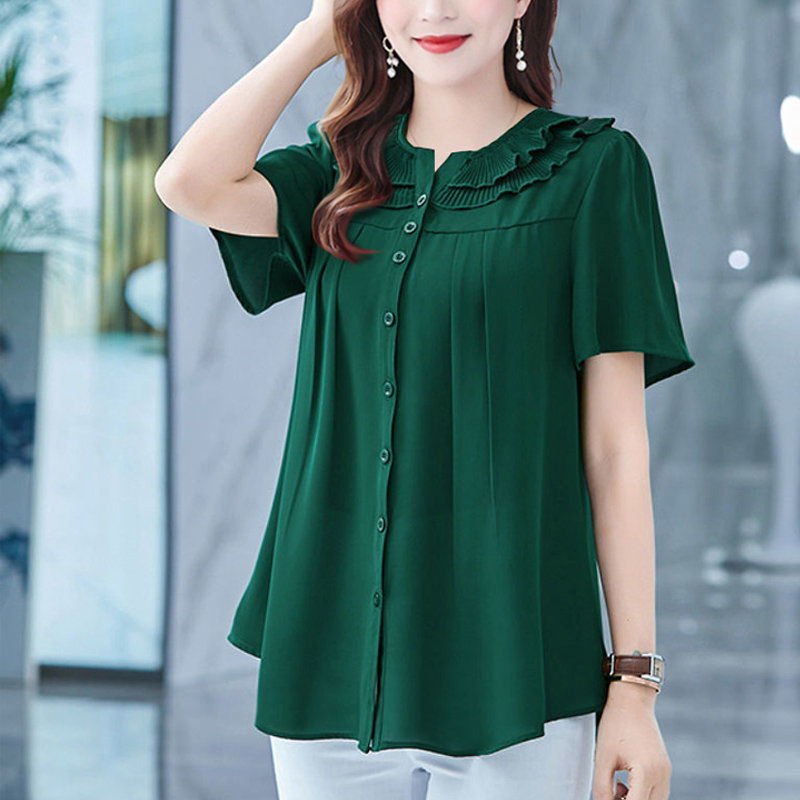 New 2021 Summer Women Large Size Short Sleeve Blouse Female Foreign Style Cover Meat Belly Loose Show Thin Shirt Tops