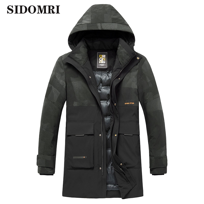 Down jacket for men the new winter men's fashion trend 90% white duck down handsome medium-length overalls with thickened jacket