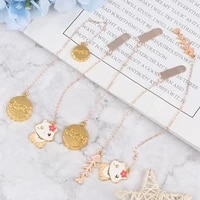1 Pcs Cute Pendant Metal Bookmarks Stationery School Office Book Marker Page Clip Student Gift Cat Fish Bones Bookmarks