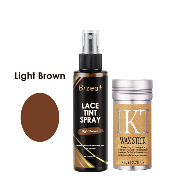 100ml Light Brown Lace Tint Spray for lace Wigs + 75g Hair Wax Stick Wig Adhesive For Closures, Wigs And Closure Front
