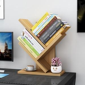 3 Layers Wooden Bookcases Tabletop Tree Bookshelf Small Desktop Bookcase Fashion Storage Rack Estanteria