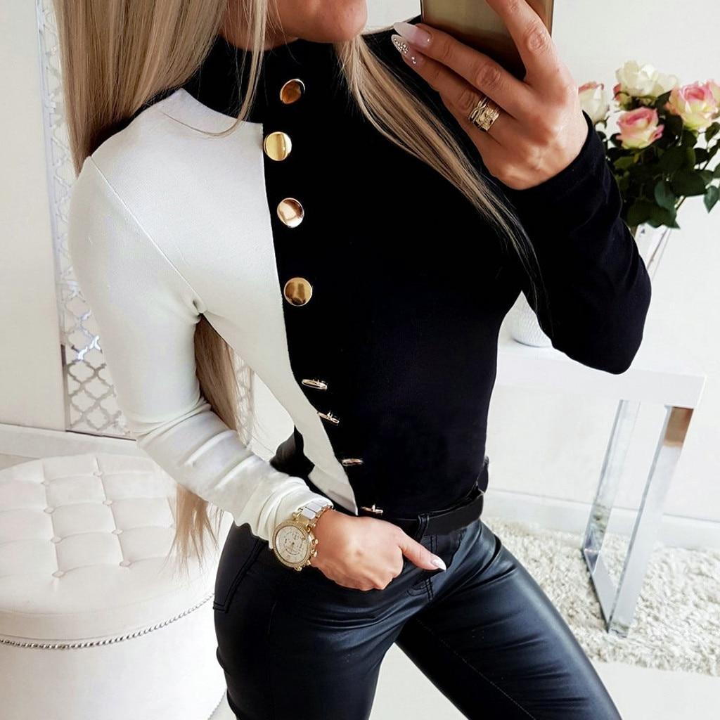 Button Shirt TShirt Womens Colorblock Long-Sleeved High-Neck Patchwork Tee Shirt Femme Autumn Tops Casual Female Streetwear