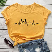 Heartbeat Lifeline with Butterfly 100%Cotton Print Women Tshirt Unisex Funny Summer Casual Short Sle