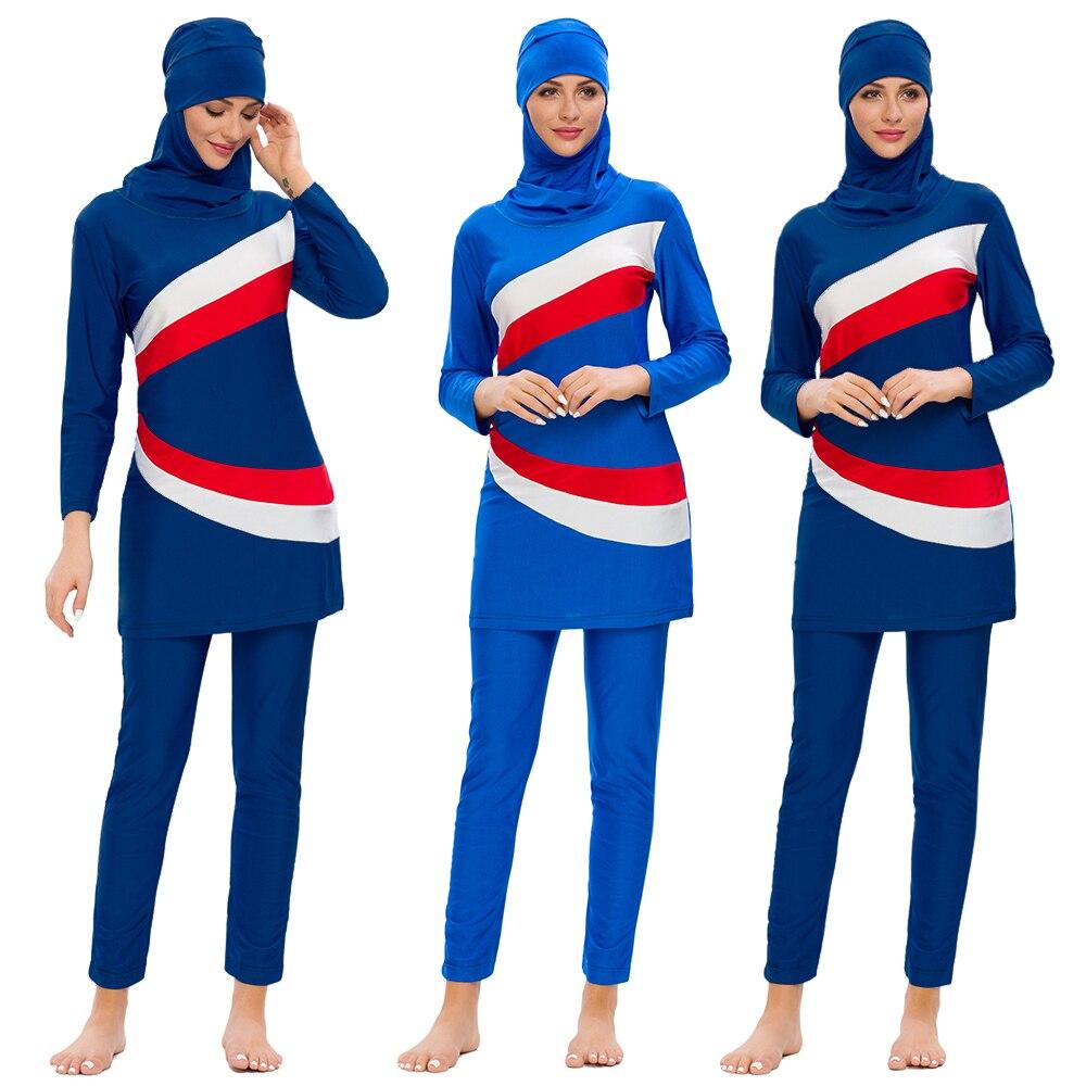 Pełna pokrywa muzułmanki z długim rękawem Burkini strój kąpielowy hidżab strój kąpielowy 3 sztuk kostium kąpielowy strój kąpielowy islamski skromny kostium kąpielowy