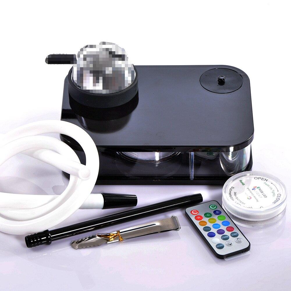 Acrylic Shisha Hookah Kit with LED Light Hookah Hose Charcoal Holder Metal Tongs Water Pipe Sheesha