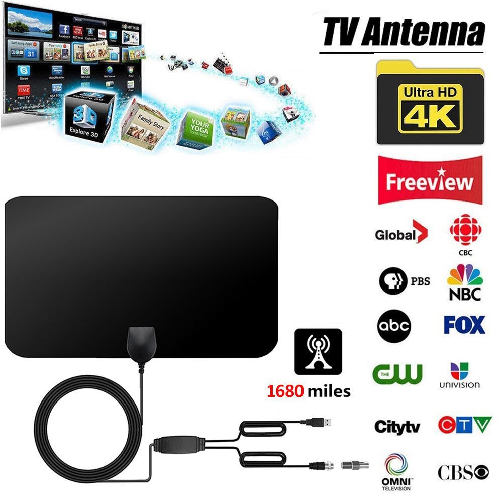 4K цифровая HDTV Антенна Внутренняя антенна с усилителем 1680 миль диапазон HD1080P DVB-T2 Freeview tv для жизни местный канал вещания