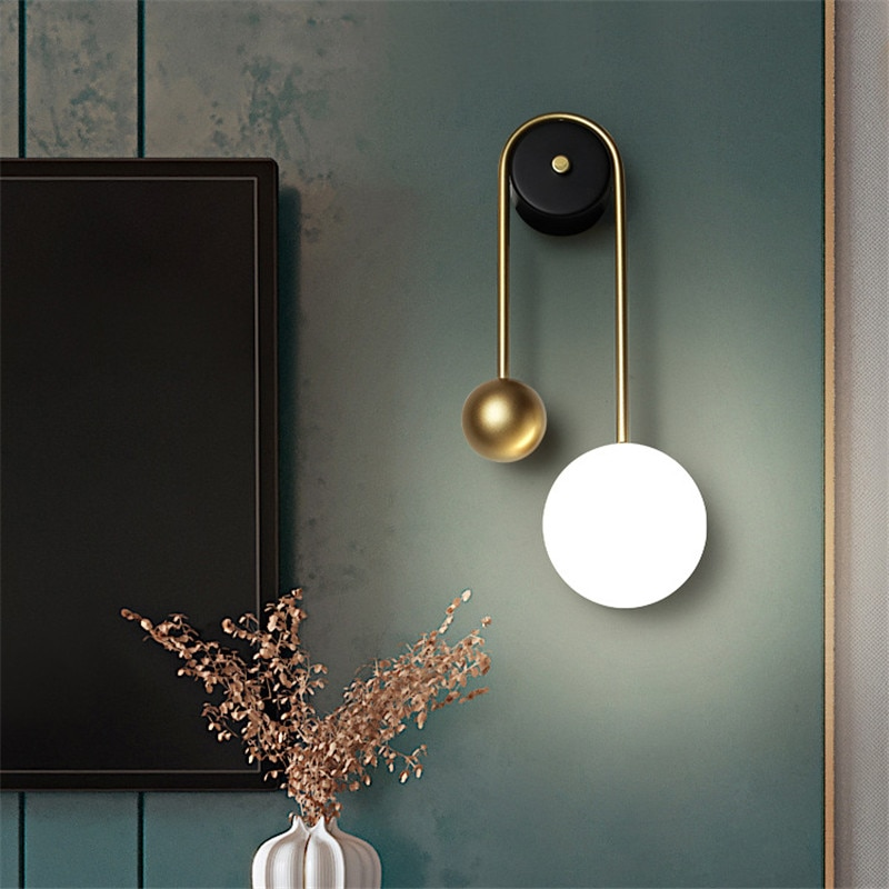 Kobuc Golden Copper Lamp Nordic Style Bedside Wall Sconce 15W Creative Wall LED 3 Light Dim for TV Background Aisle Hotel Study