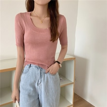 Fashion Knitted T-shirt Women 2021 New Half Sleeve Stretch Knitted Tshirt Solid Casual Spring Summer