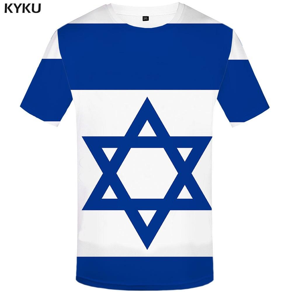 Camisetas divertidas de la bandera de Israel camiseta de los hombres de Israel camisetas casuales geométricas estampadas camisetas azules 3d Harajuku ropa de Anime