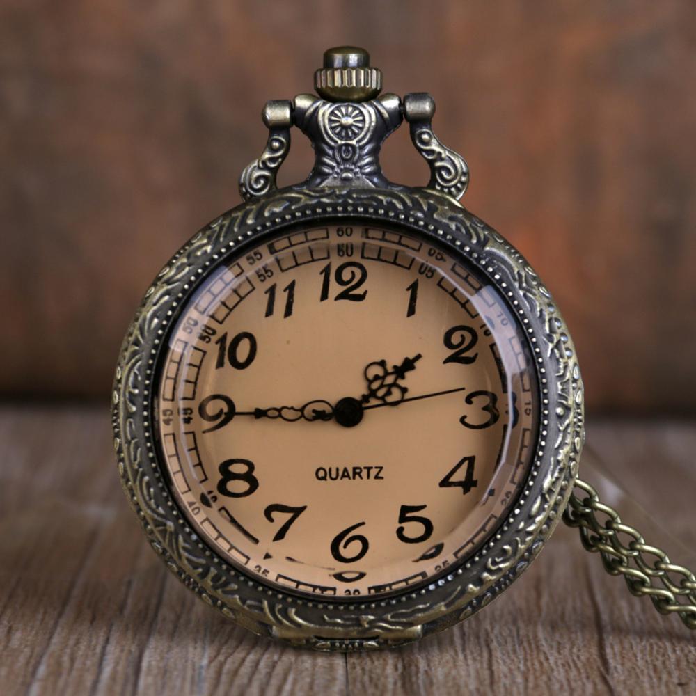Bronce té cristal cuarzo reloj de bolsillo Vintage Steampunk relojes de cadena de bolsillo árabe número collar cadena mujeres hombres Dropshipping