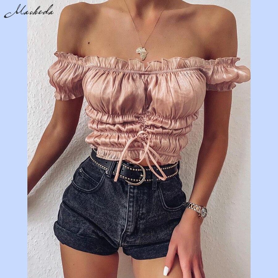 Macheda, camiseta de verano a la francesa romántica con volante elegante liso, Tops casuales de calle para mujer, camisetas cortas con cuello oblicuo para mujer, novedad de 2020