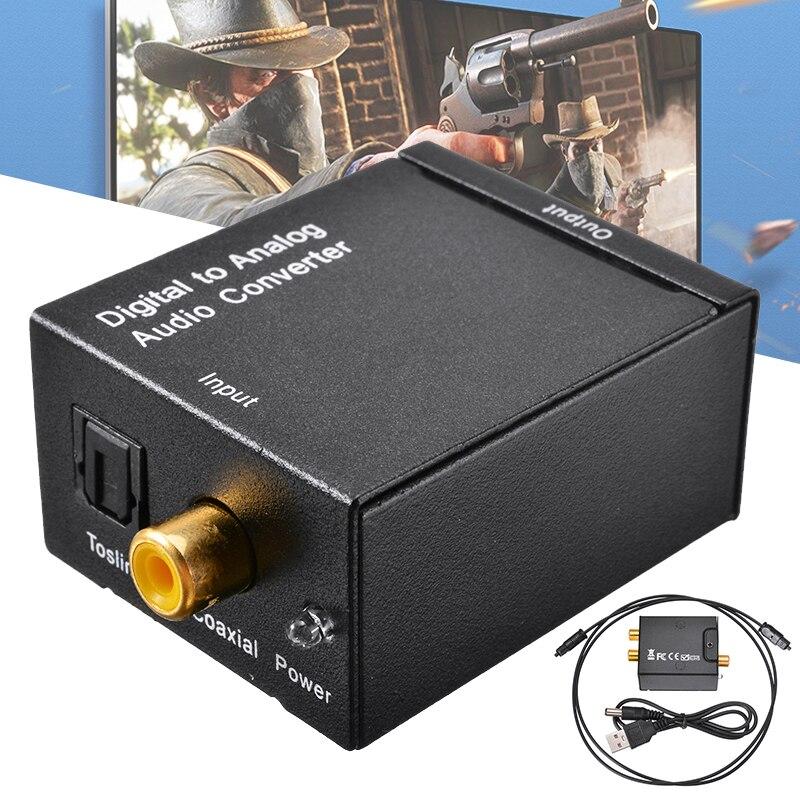 Audio stéréo numérique optique SPDIF Toslink Signal Coaxial au convertisseur analogique adaptateur de décodeur amplificateur DAC Jack avec 2 * RCA
