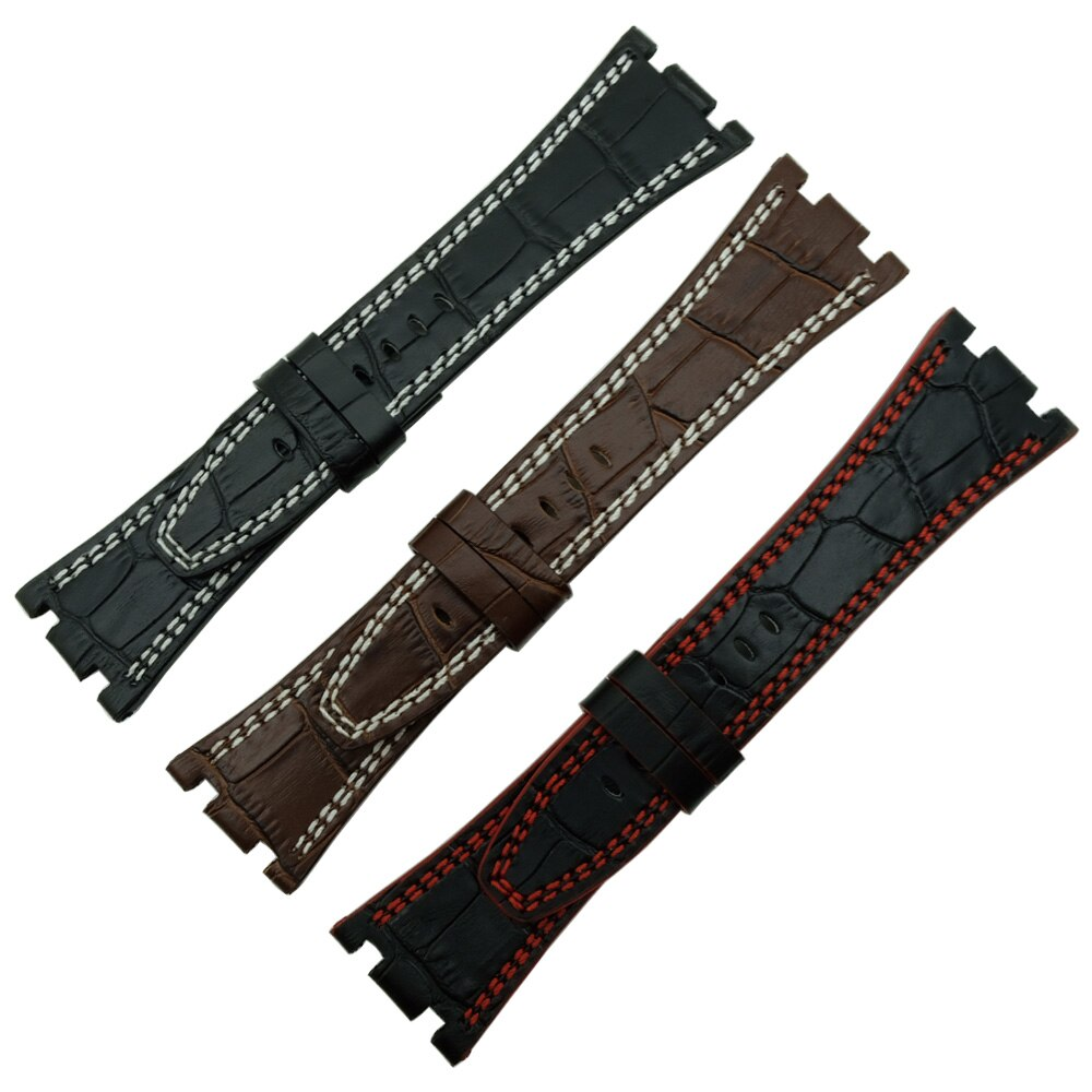Para audemars 100% artesanal 28 mm couro genuíno artesanal pulseira de relógio para ap para piguet + parafuso ferramentas