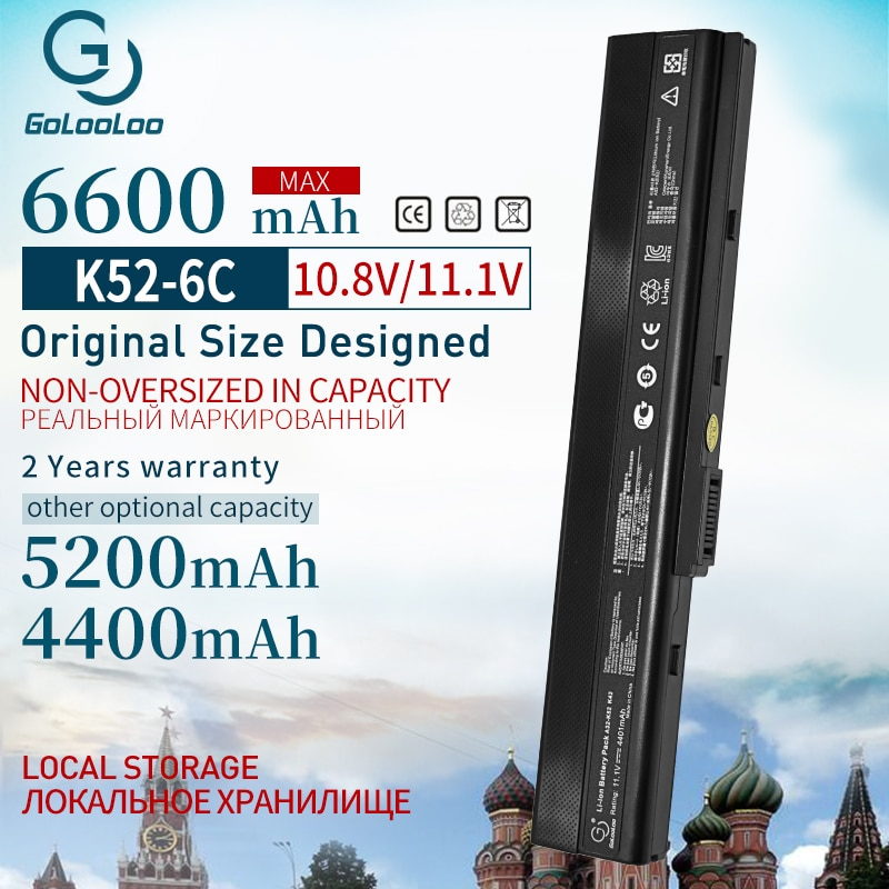 6600mah Laptop Battery for ASUS A32-K52 A31-K52 k52 X52F X52J X52JB X52JC X52JE X52JG X52JK X52JR X52Jt X52JU X52JV k52j X52SG