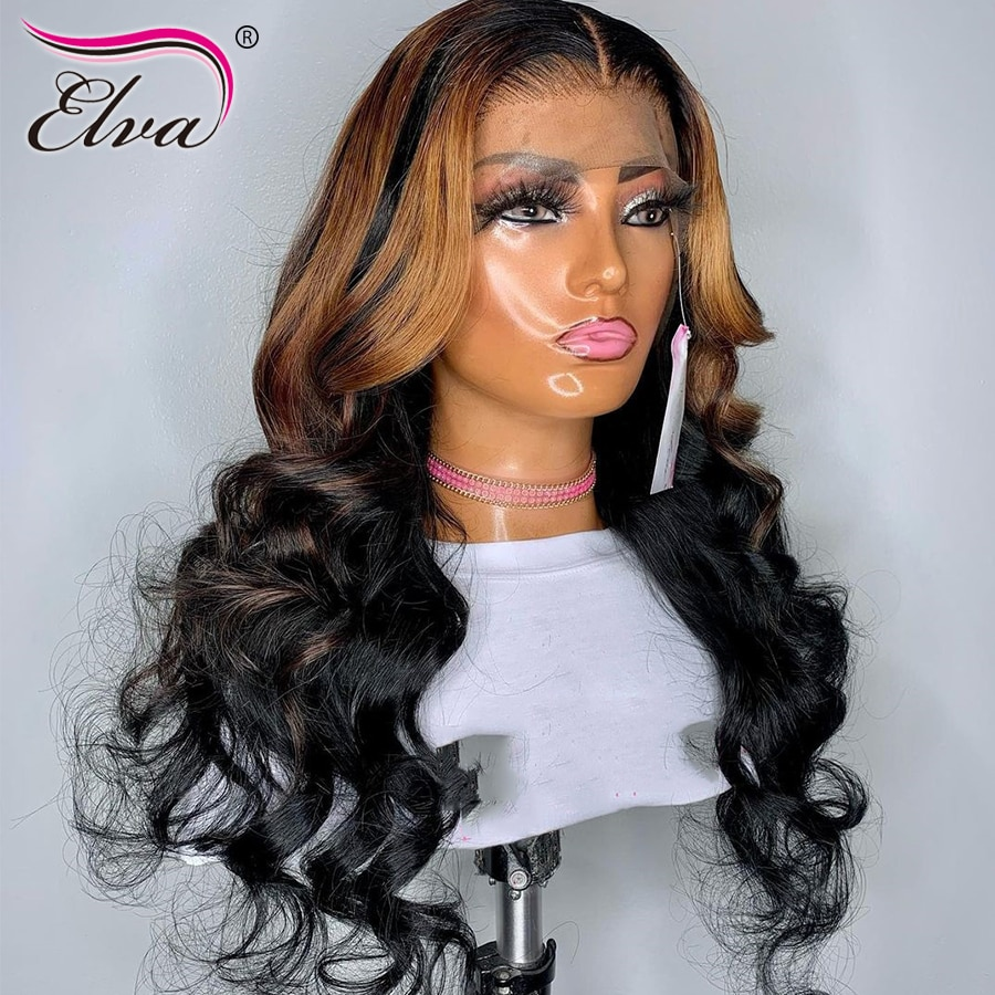 HD Lace Frontal Wigs For Women Wavy Lace Front Human Hair Wigs Bleached Knots Ombre Highlight Wigs Glueless Transparent Lace Wig