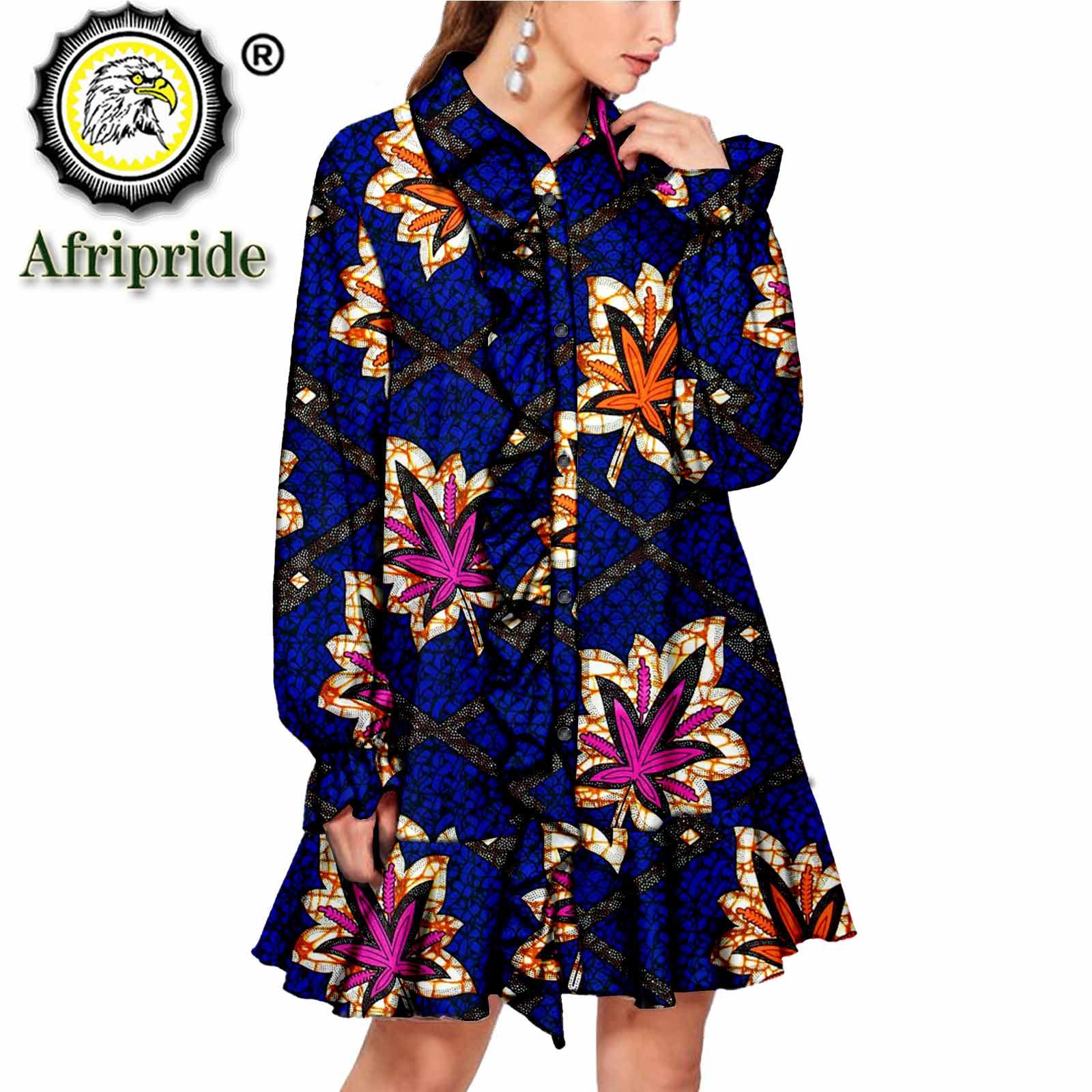 Africanos para Mulheres Vestidos Elegent Floral Impressão Tradicional Ancara Dashiki Camisas Vestido Patchework Senhora Vestuários Festa S2125023
