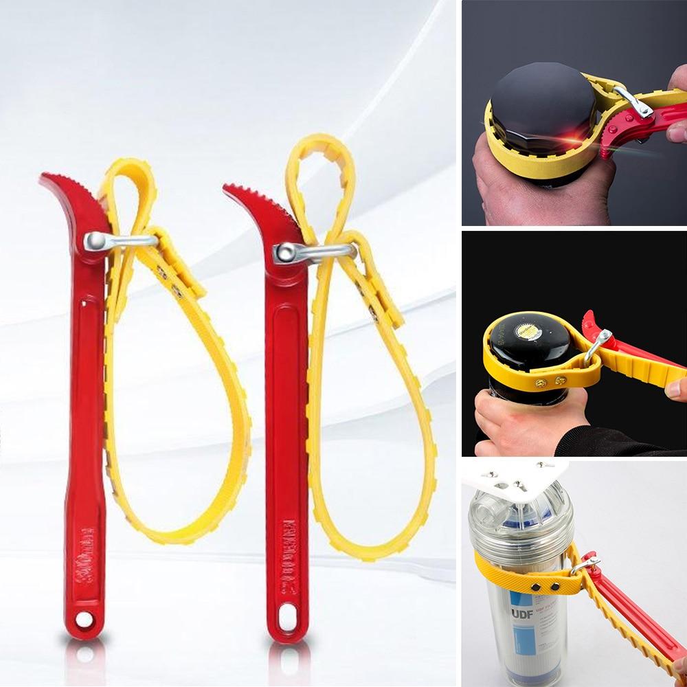1 unidad de llave de cinturón plegable, correa de filtro de aceite, cadena de llave, correa de apertura ajustable duradera, herramienta de desmontaje de cartucho de filtro
