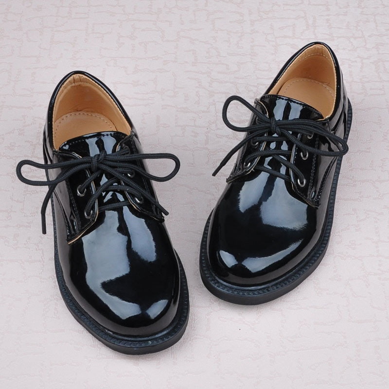 Kids Shoes for Baby Boys Performing Leather Shoes Black Flats Dancing Wedding Patent Leather School