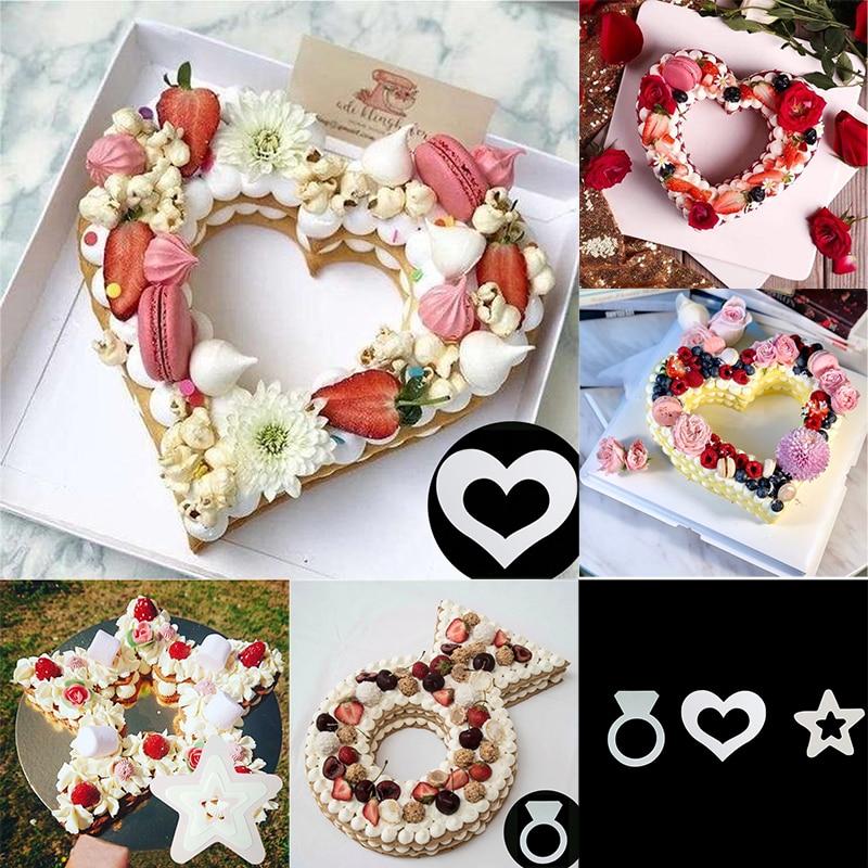 10/14 дюймов, форма в форме сердца и звезды, бриллиантовое кольцо, форма для торта, товары для выпечки на свадьбу, день рождения, кондитерские и...
