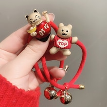 New Year Cow Headband Female Ponytail Temperament Hot Selling Bracelet Dual-Use Red Rope Hair Band S