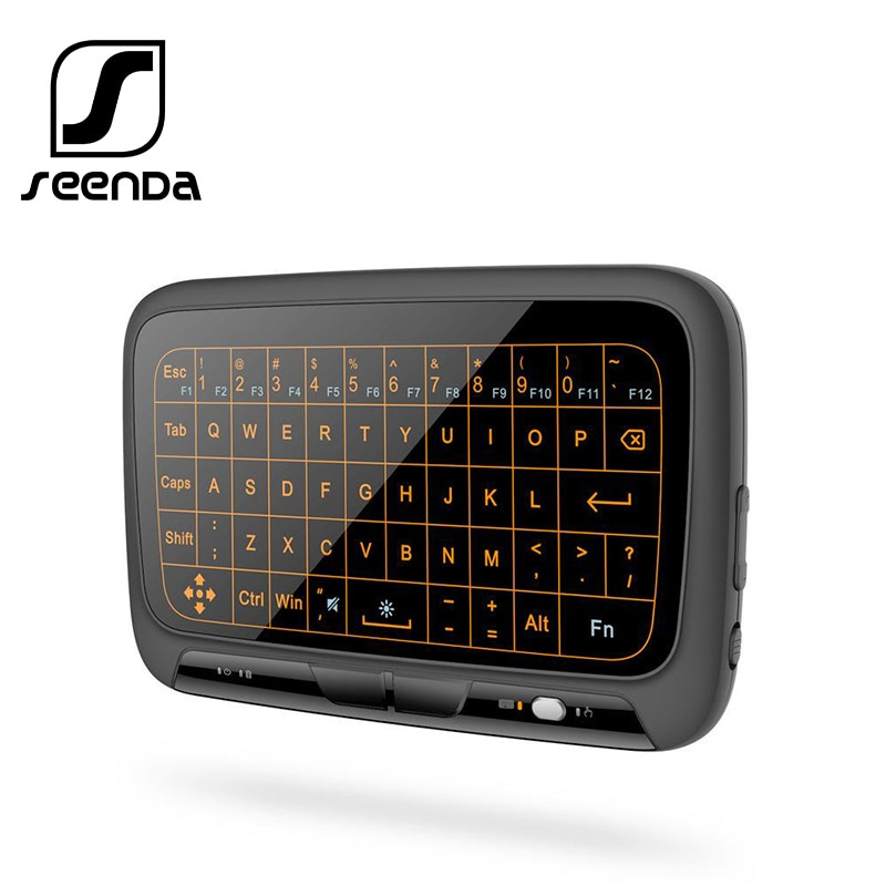SeenDa-لوحة مفاتيح لاسلكية صغيرة 2.4 جيجا هرتز ، لوحة لمس مع إضاءة خلفية ، ماوس هوائي ، جهاز تحكم عن بعد لتلفزيون ذكي BOX ، Android ، iOS ، Windows