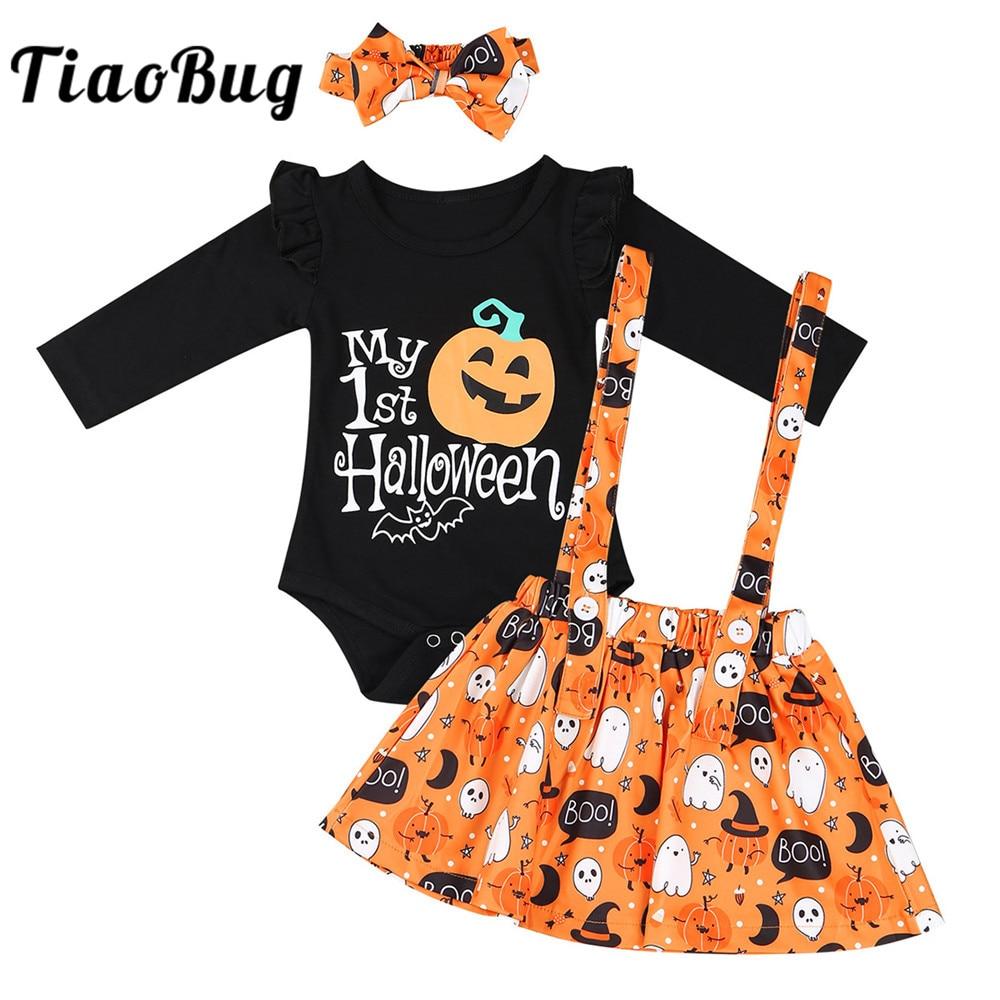 TiaoBug Infant Baby Girls Long Sleeves Cartoon Pumpkin Printed Romper with Headband Suspender Skirt