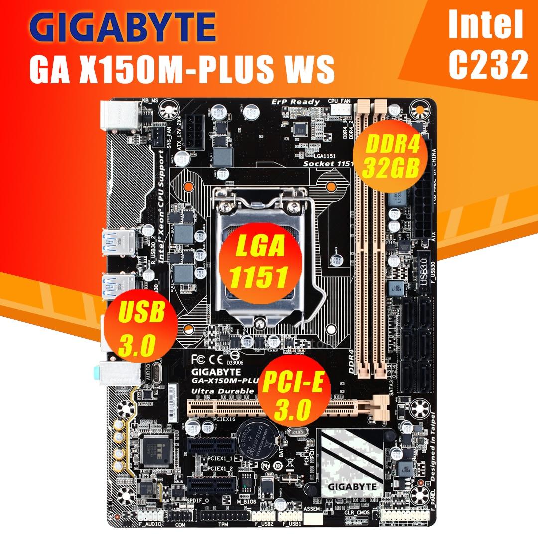 جيجابايت GA-X150M-PLUS WS اللوحة 100% الأصلي X150M-PLUS WS C232 المقبس LGA1151 DDR4 دعم G3900 I3 6100 E3-1200 v5 تستخدم