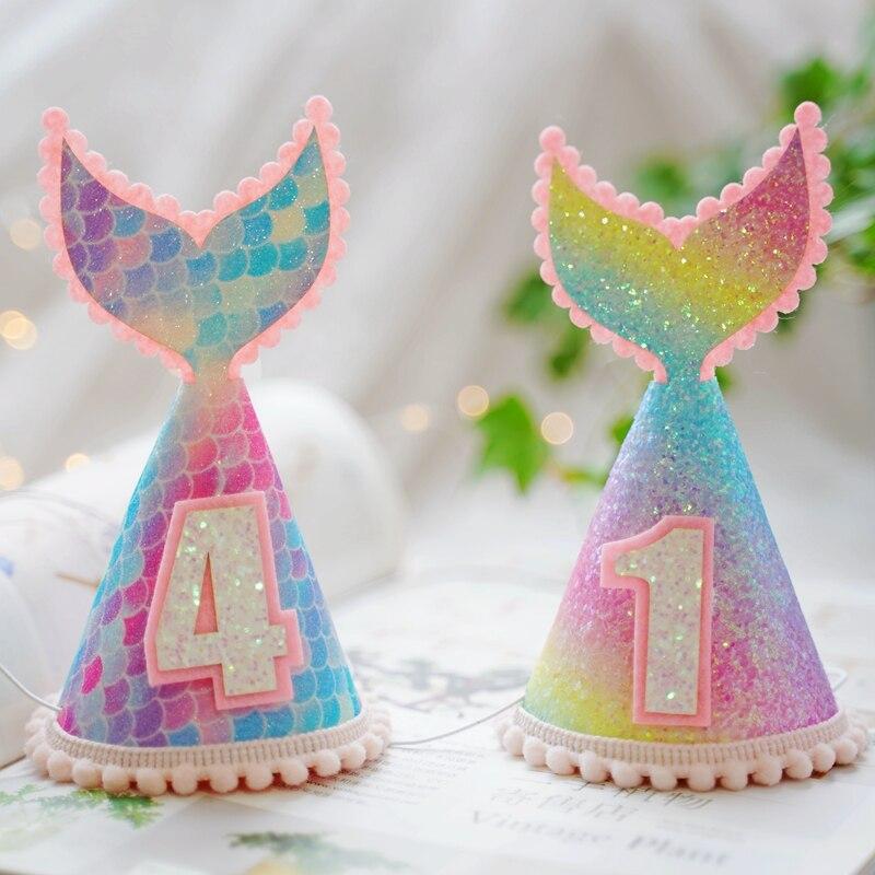 1 pieza Arco Iris gradiente sirena cumpleaños sombrero princesa corona sombrero niña bebé cumpleaños fiesta decoración sombrero bebé ducha fiesta suministros