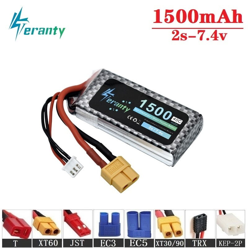 Teranty Power 7.4V 1500mAh 40C Lithium Battery For RC Toys Car Boat Helicopter Parts 2s Lipo battery