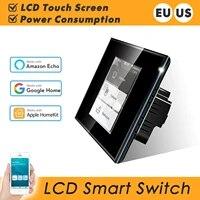 Interrupteur mural intelligent avec wi-fi  110 220V  consommation denergie  fonctionne avec Apple Homekit  Alexa  Google Home  EU US  ecran tactile LCD