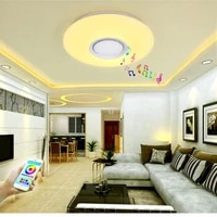 nordic creative dimmable color changing rgb ceiling lamp living room music bluetooth speaker led ceiling lamp bedroom lighting
