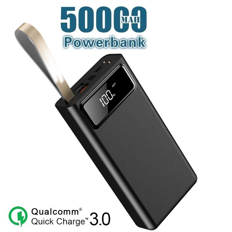 50000mAh Power Bank Portable Phone Charger LCD Digital Display LED Lighting Outdoor Travel Powerbank