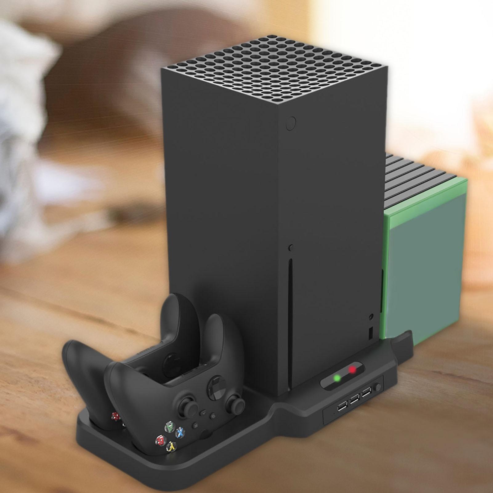 حامل رأسي مع مراوح تبريد ، وحدة تحكم مزدوجة لجهاز Xbox Series X S ، محطة شحن ، تبريد ، 11 قرص ألعاب
