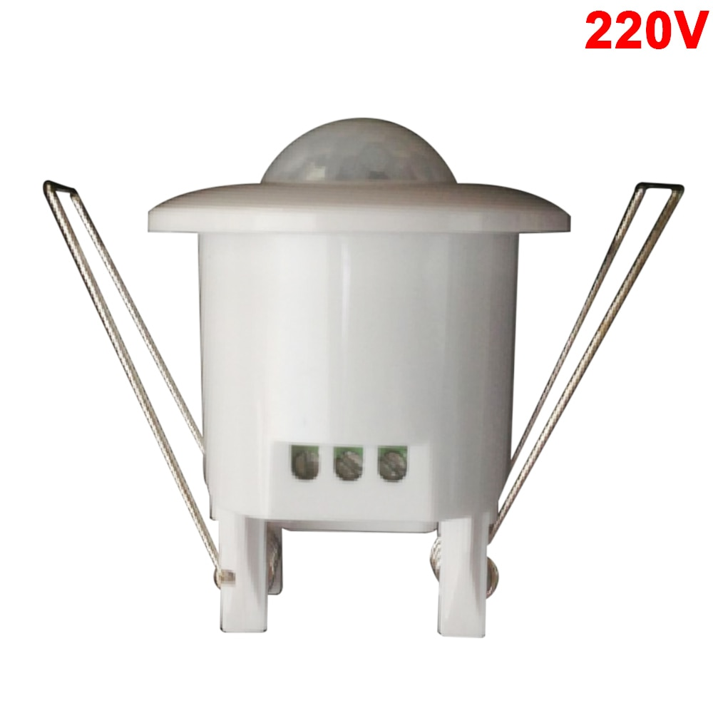Sensor PIR 220 v/12 V Mini ajustable 360/140 grados techo PIR infrarrojo movimiento del cuerpo Sensor interruptor Led tira lámpara de ahorro energético