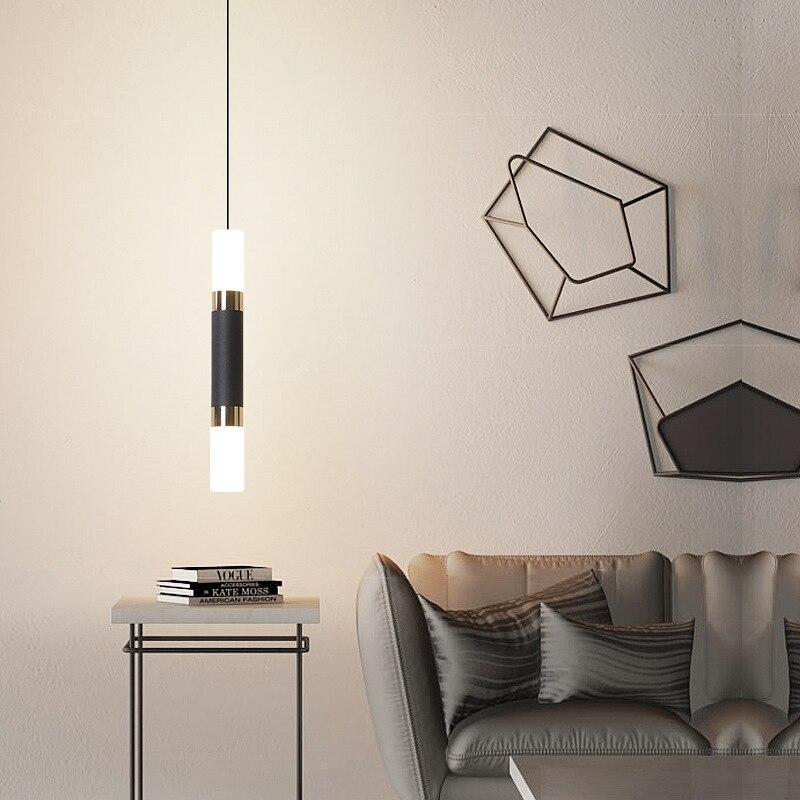 Hartisan قلادة مصباح LED الثريا الحديثة ثريا تركب بالسقف أنبوب طويل تصميم قلادة أضواء لغرفة المعيشة غرفة الطعام مصباح