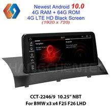 Écran HD noir 1920x720 Android 10.0 64G écran pour BMW x3 x4 F25 F26 NBT Support OEM iDrive Aux BT WiFi caméra arrière GPS Sat Navi